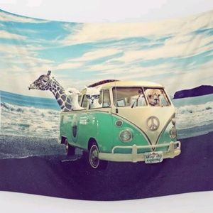 Giraffe in VW Bus Tapestry